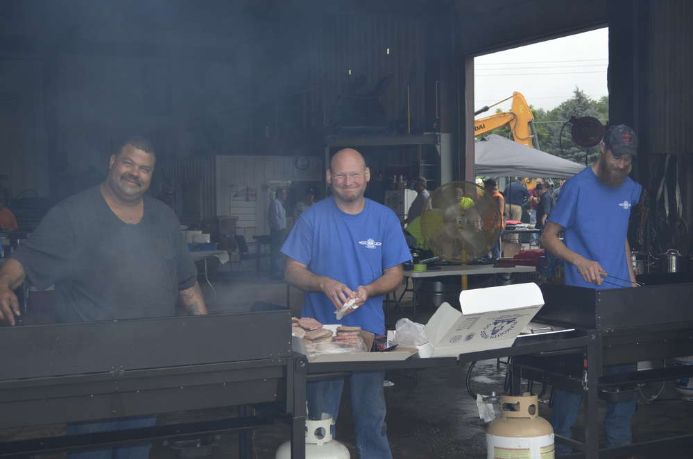 The parts and service department of George & Swede was happy to cook burgers to order.
