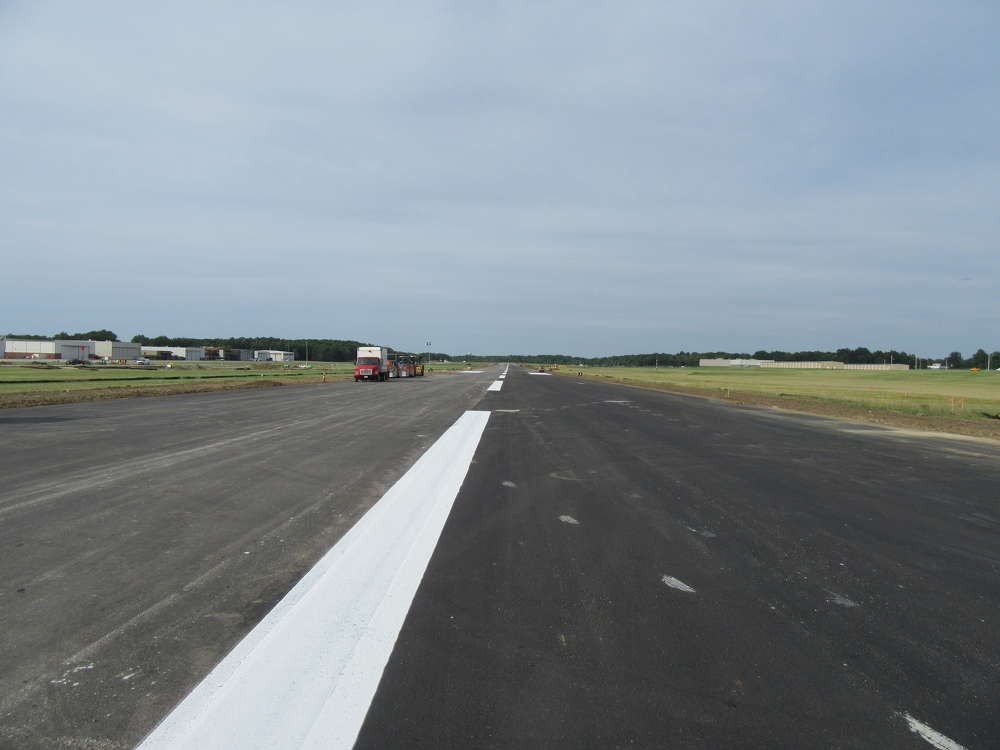 The mat finish on the runway will ensure smooth landings at the Cuyahoga County Airport.
