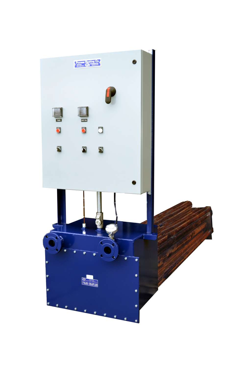 The All-In-One Heater Kit from Seattle-based Process Heating Company is a complete system that can provide direct heat to the asphalt tank, while also supplying hot oil for the plant.