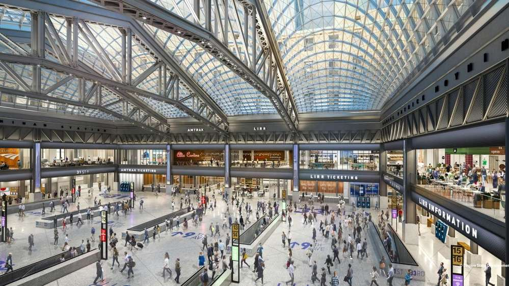 When completed, the 255,000-sq.-ft. hall will have nine platforms, 17 tracks, 11 escalators, seven elevators and a 92-ft.-tall skylight.