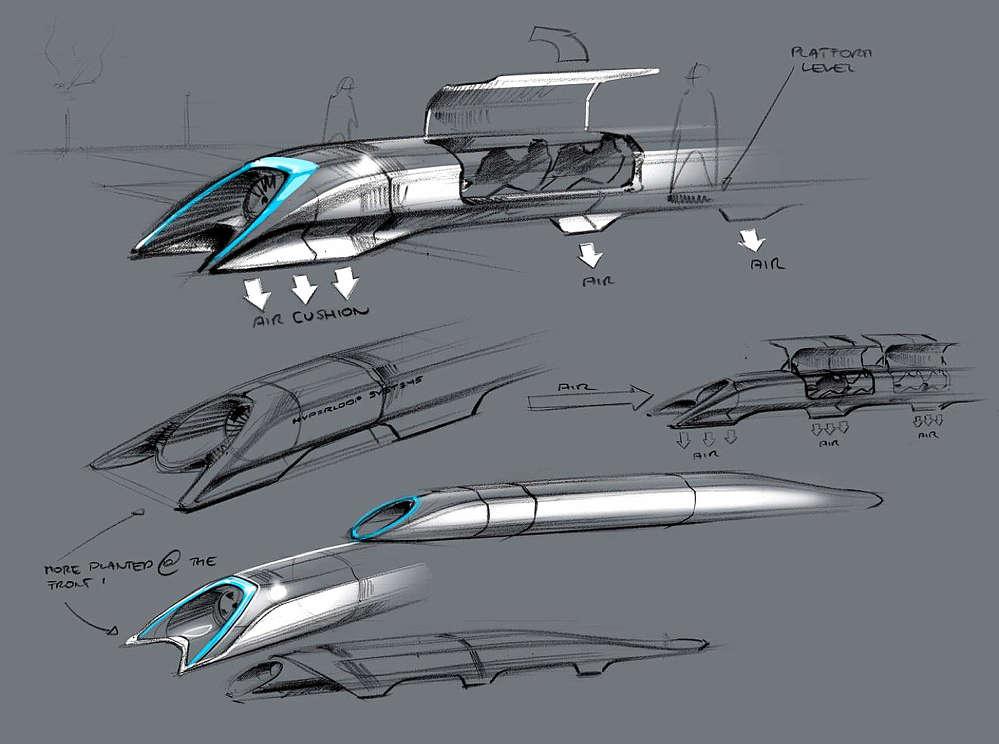 Musk's Hyperloop design as detailed in his Alpha Paper.