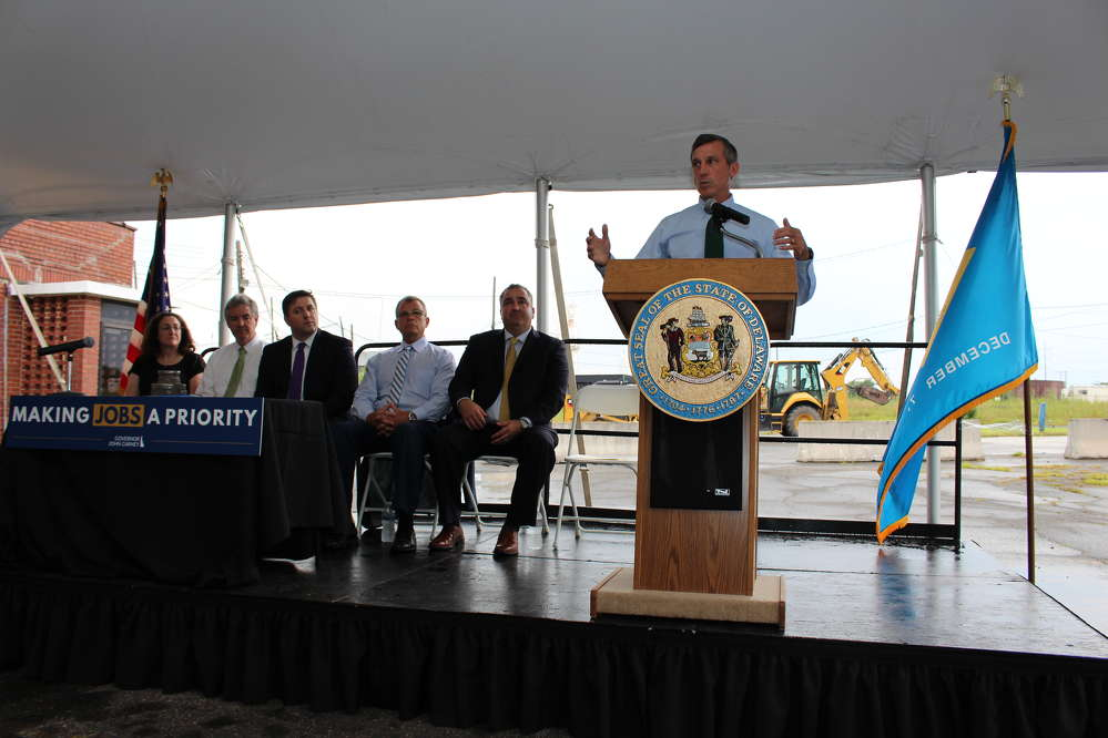 Gov. Carney gives remarks at the House Bill 190's signing ceremony in Claymont, Del.