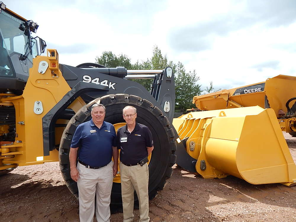 Brian Durfee (L), used equipment manager of Nortrax, and Matt Hansen Nortrax, Merrill, Wis., general manager.