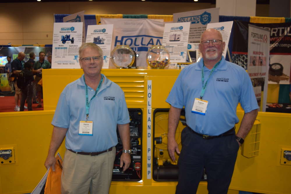 Pat Sweeney (L) and Eugene Lant of Holland Pumps talk about the features and benefits of this Selwood pump and other Holland Pump offerings.