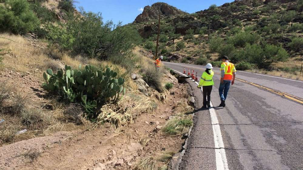 A two-month repair project is under way on a 24-mi. stretch of state Route 88 (Apache Trail) between Apache Junction and an area east of Canyon Lake. (Arizona DOT photo)