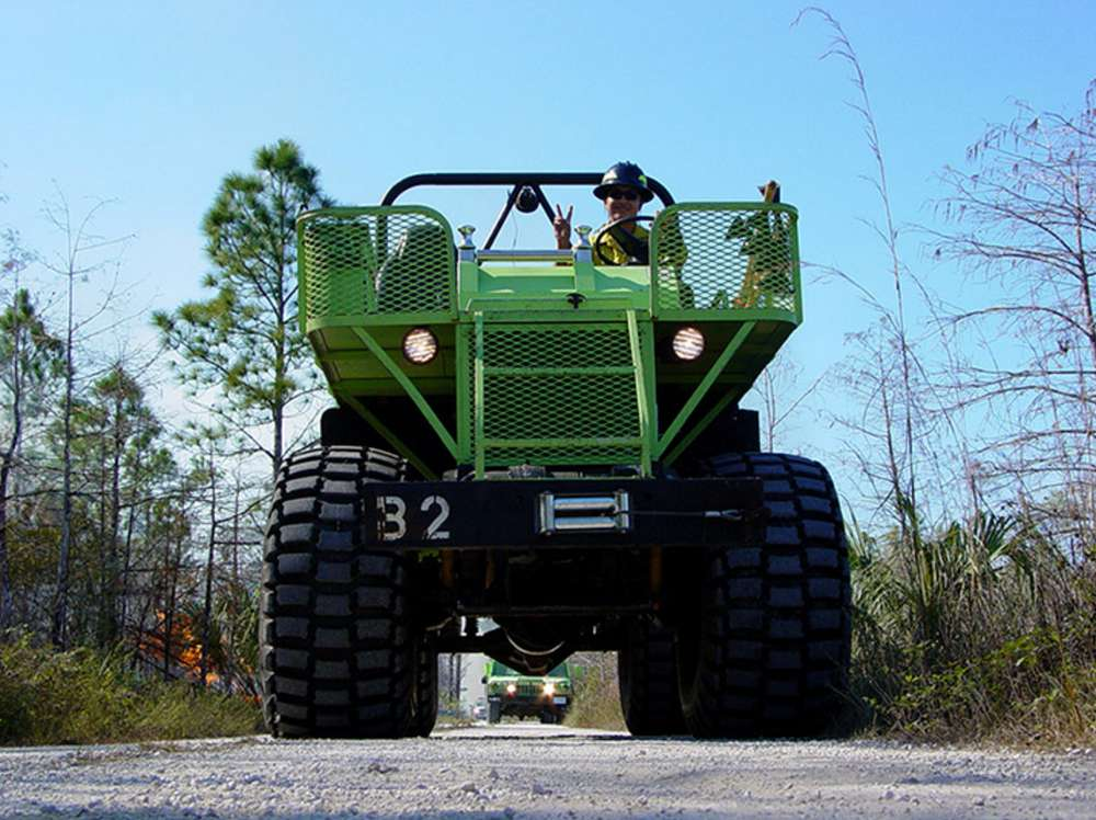Big Cypress National Preserve, Fla., 2003 — Swamp Buggies are specially-designed to transport fire crews and equipment in regions where mud and water make typical transport difficult. (NPS/Brodeur photo)