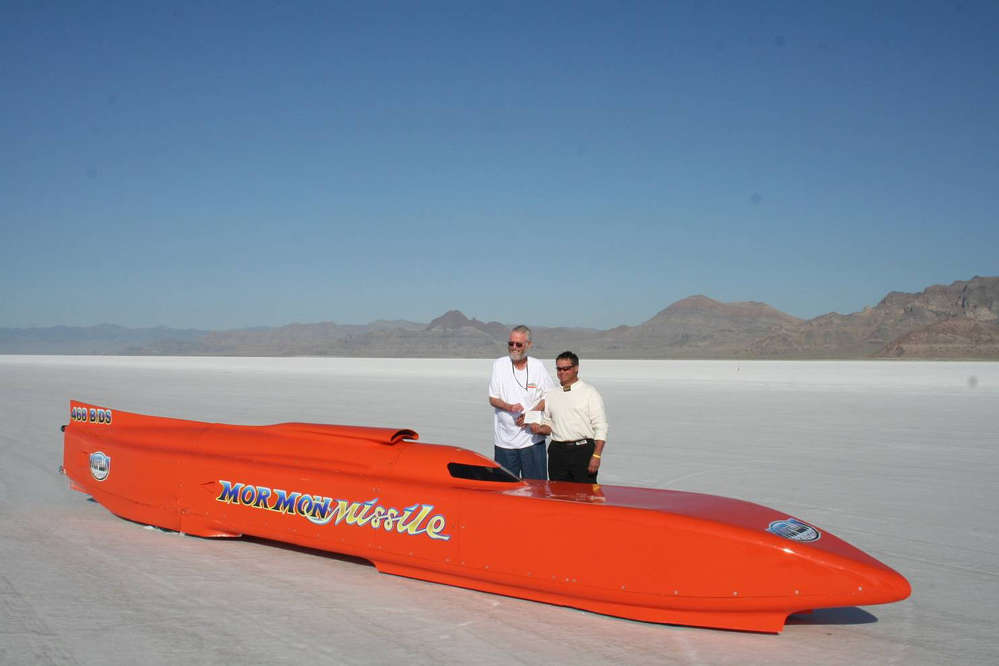 (L-R): Lynn Goodfellow and Curtis Halvorson, the engine builder, with the Mormon Missle. Halvorson drove the car the year after Goodfellow's accident and set the 341-mph record, still held today.