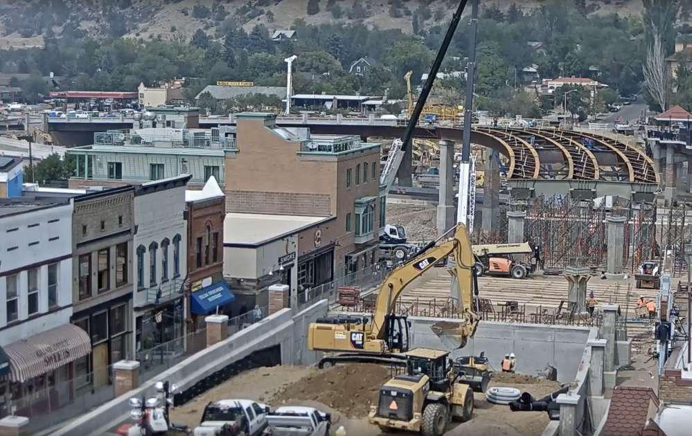 Crews began setting nine steel tub girders for the new Grand Avenue Bridge. (CDOT image)