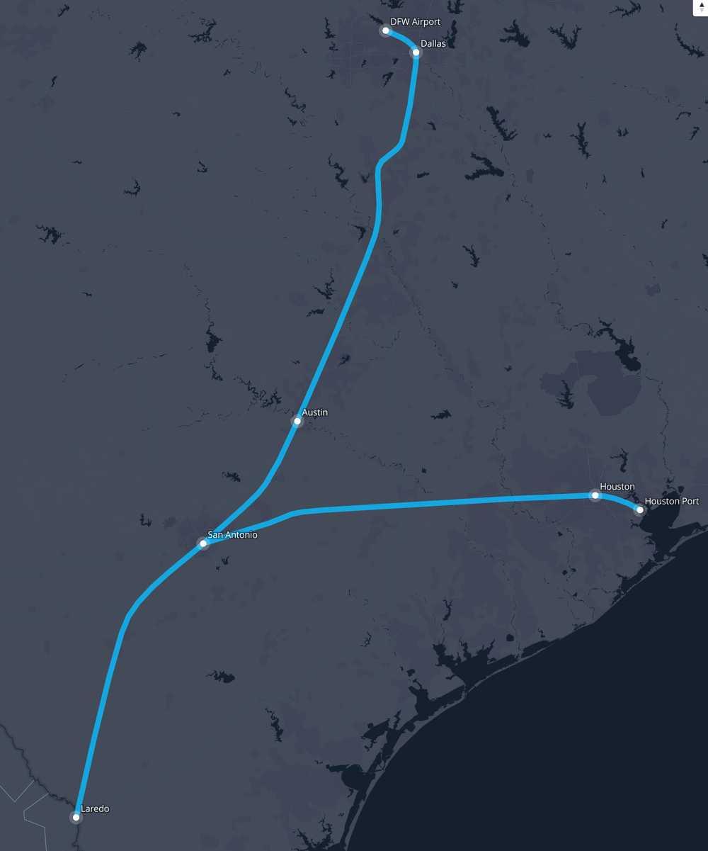 Laredo And Houston Route