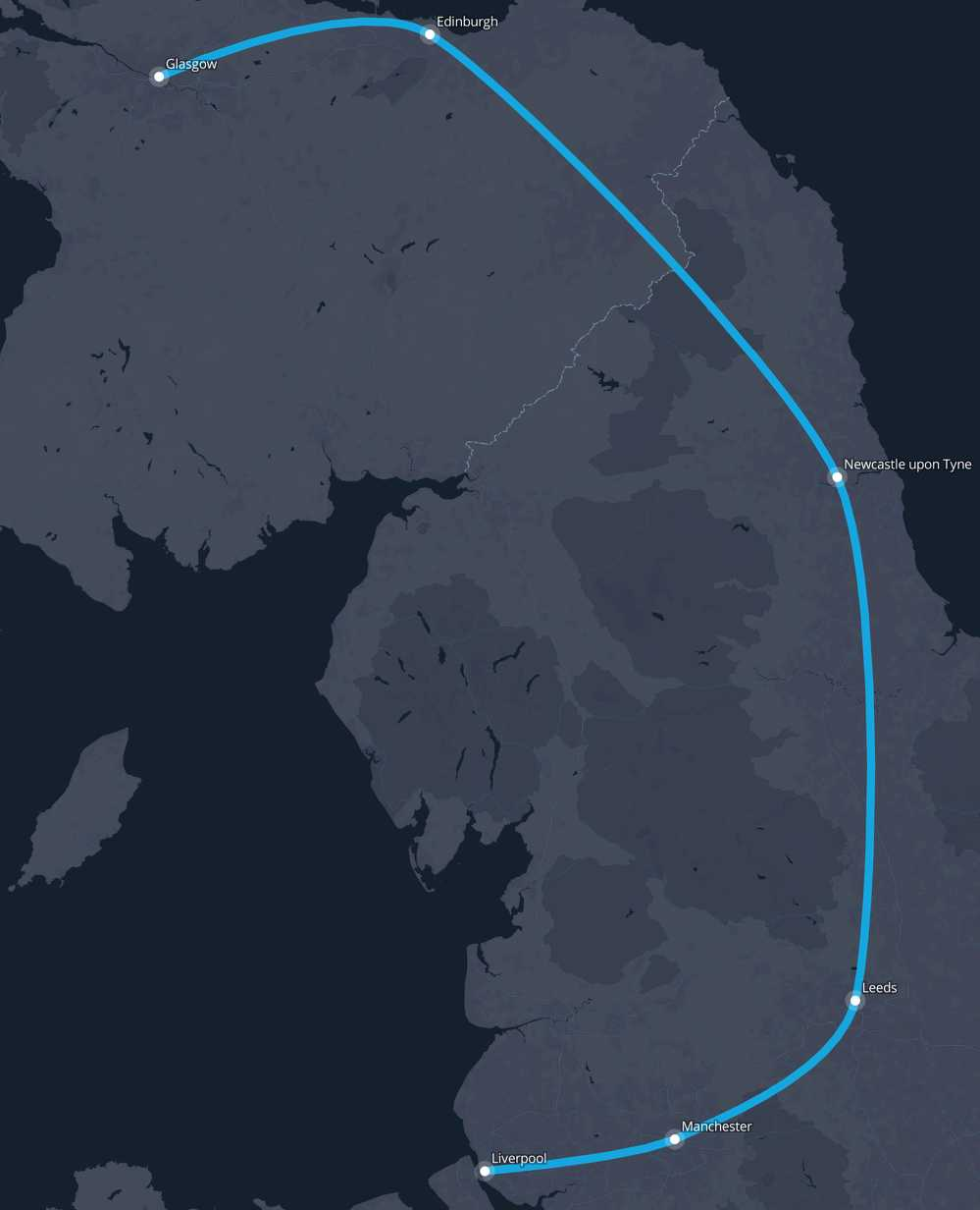 Glasgow To Liverpool Route