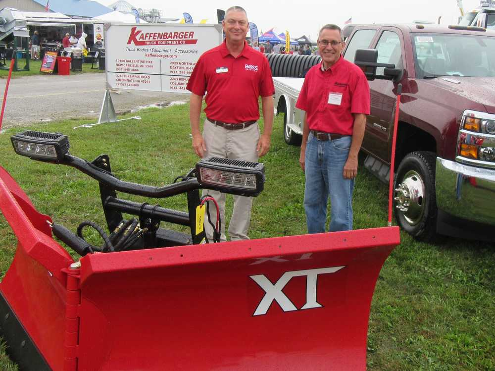 Rick Nuth (L) of Boss joins Les Mason of Kaffenbarger Truck Equipment to showcase the dealership's line of truck equipment.