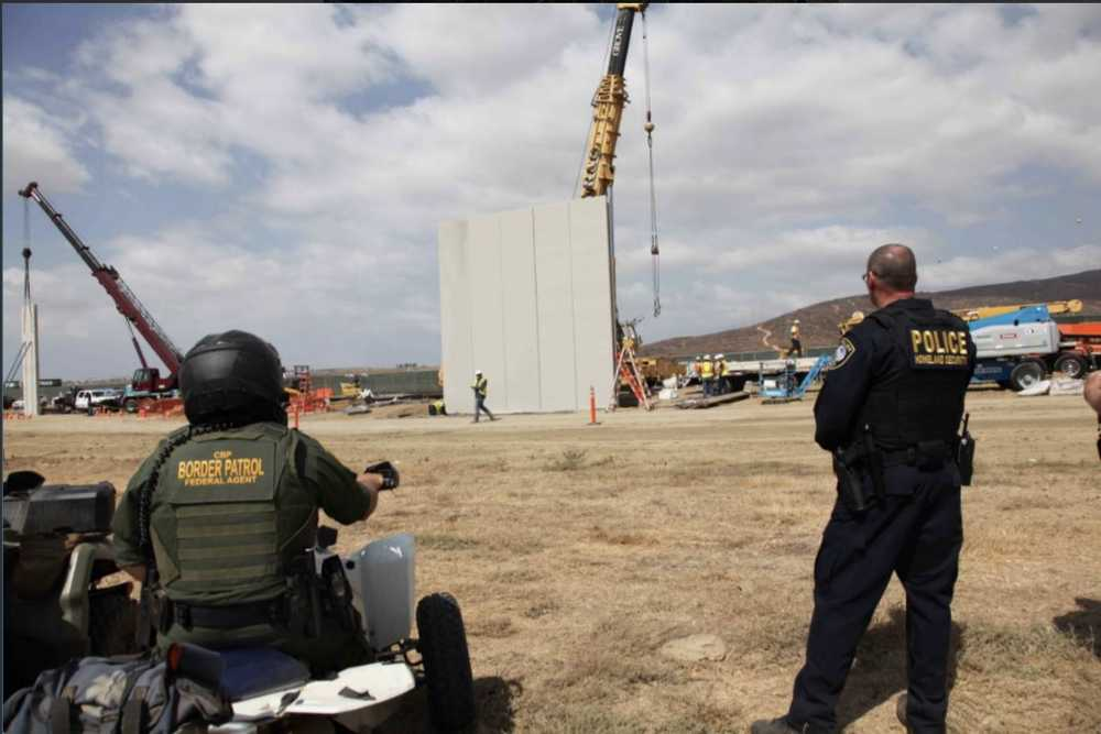 U.S. Customs and Border Protection tweeted a series of photos of the construction of the concrete border wall prototypes, Oct. 3.