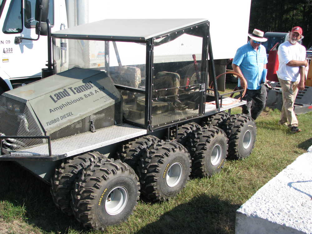 A turbo-charged Land Tamer amphibious 8x8 with PTO drive for attachments was available at the auction.