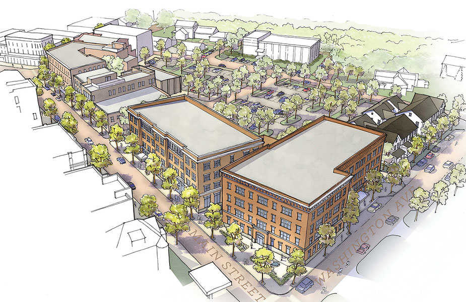 The four-acre site will be transformed into a mixed-use urban area with a medical office building, housing, restaurants and retail space. (Putnam Block photo)