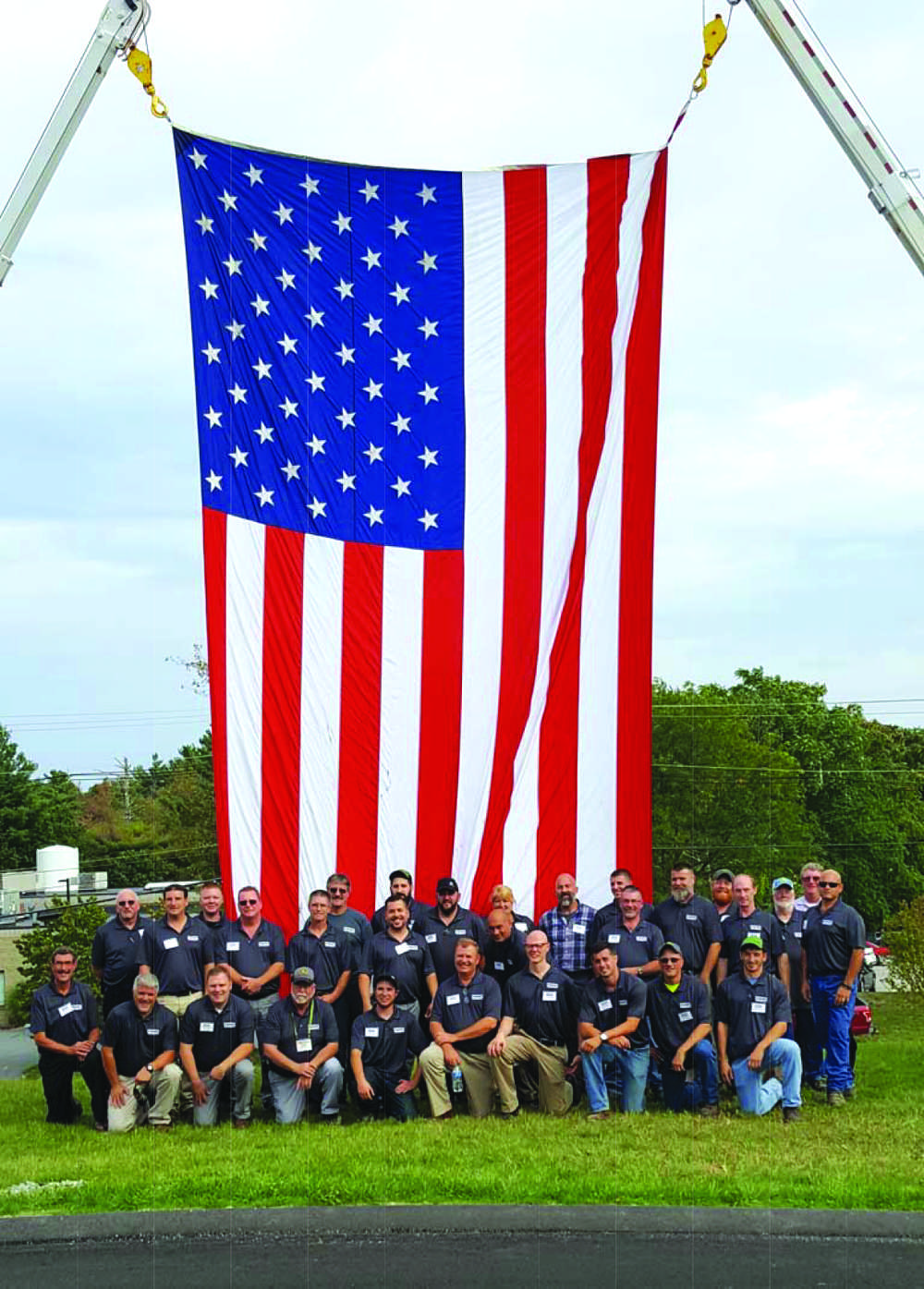 Schmidt Equipment's employees show their pride with this over-sized American flag.