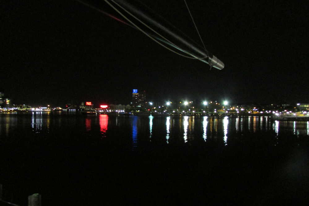 The view of the inner harbor in Baltimore, Md., from the stern of the USS Constellation.