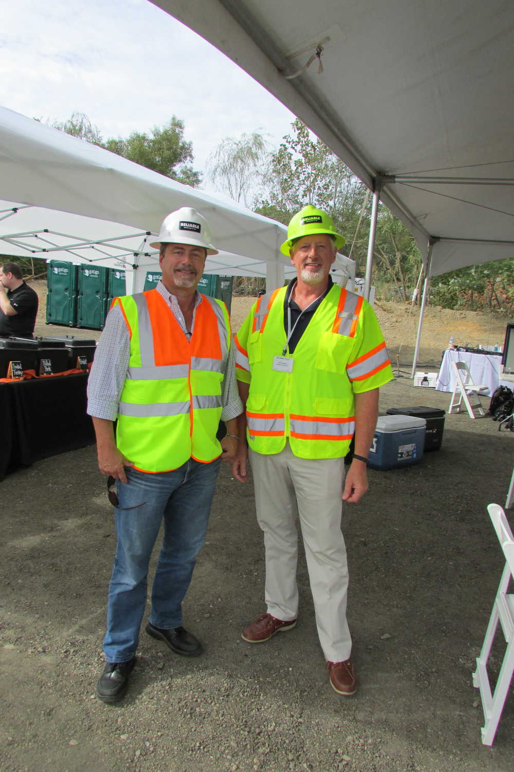 Reliable Contracting's John Baldwin Jr. (L), vice president of the grading and utilities division, and Rob Scrivener, vice president of asphalt operations, were happy to be hosting the site demonstration for Terex Finlay in Gambrills, Md.