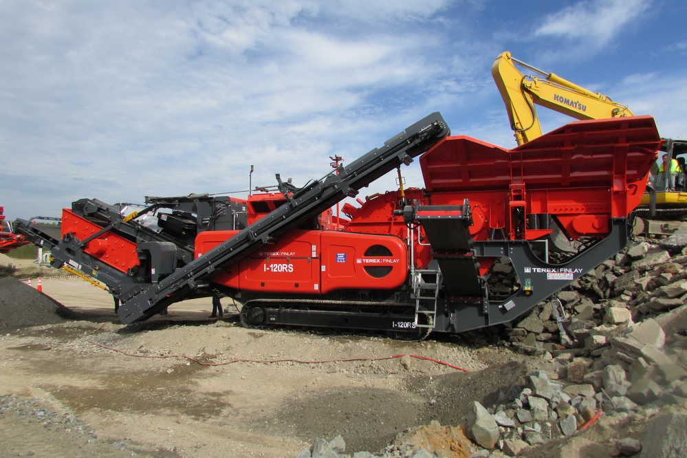 Terex Finlay's new I-120RS impact crusher on display.