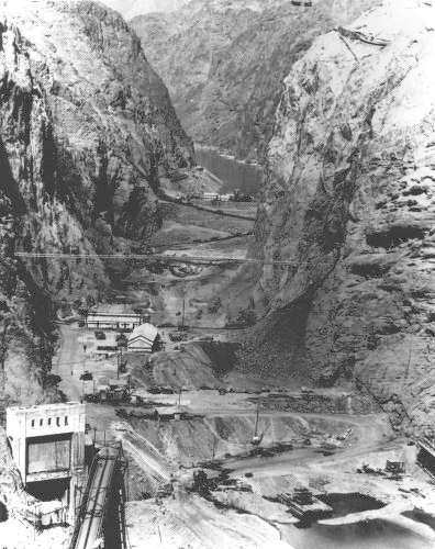 Black Canyon conditions at the site of the Hoover Dam before excavation began between the cofferdams. (Photo Courtesy of the Bureau of Reclamation)