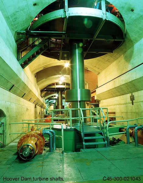 Hoover Dam turbine shafts. (Photo Courtesy of the Bureau of Reclamation)