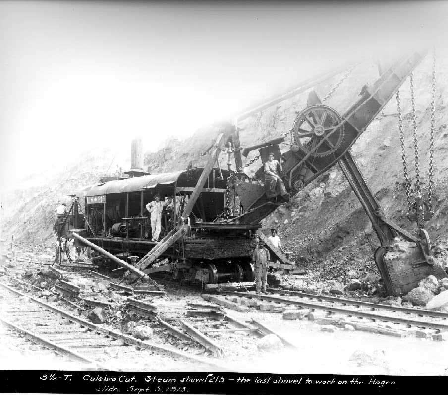 At the Culebra Cut, steam shovel No. 215 is the last shovel to work on the Hagen Slide on Sept. 5, 1913.