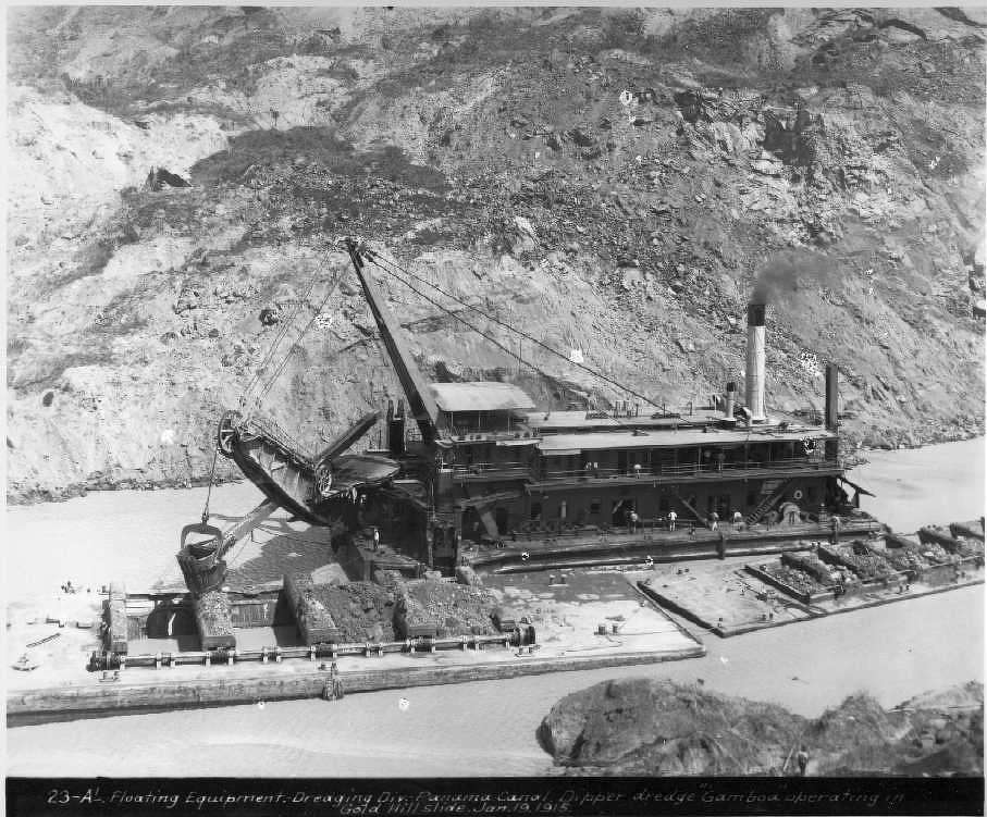 "The dipper dredge ""Gamboa"" operates in the Gold Hill slide in January 1915."