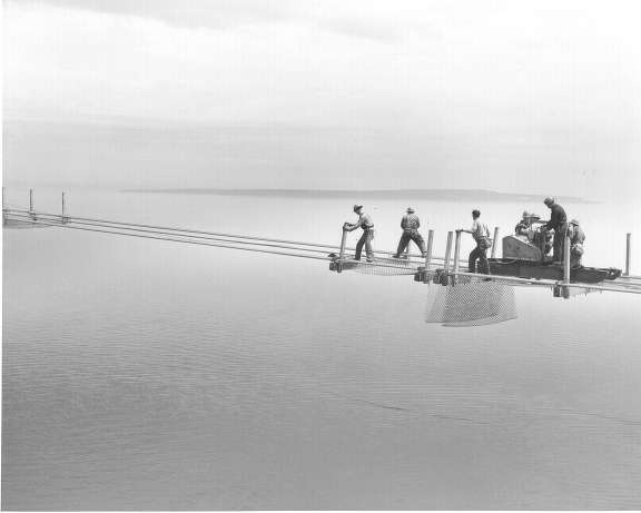 Workers erect the east catwalk between the north and south towers on June 15, 1956.