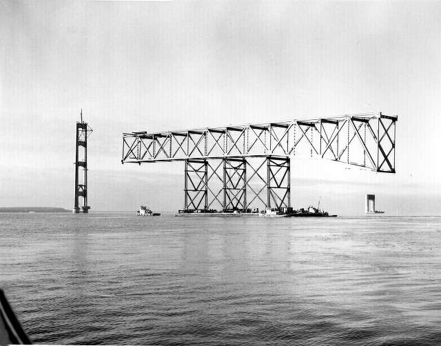 The towing backstay span shown on Dec. 18, 1955