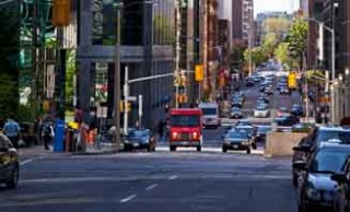 Pedestrians vs Transport Trucks in Ottawa's Downtown