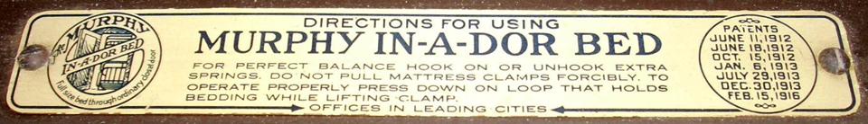 plaque with murphy bed operating instructions