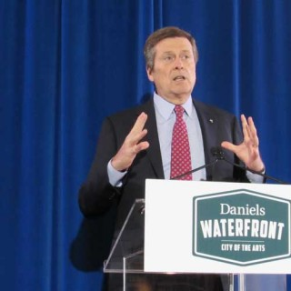 John Tory commended the Daniels Corporation for the development of Daniels Waterfront