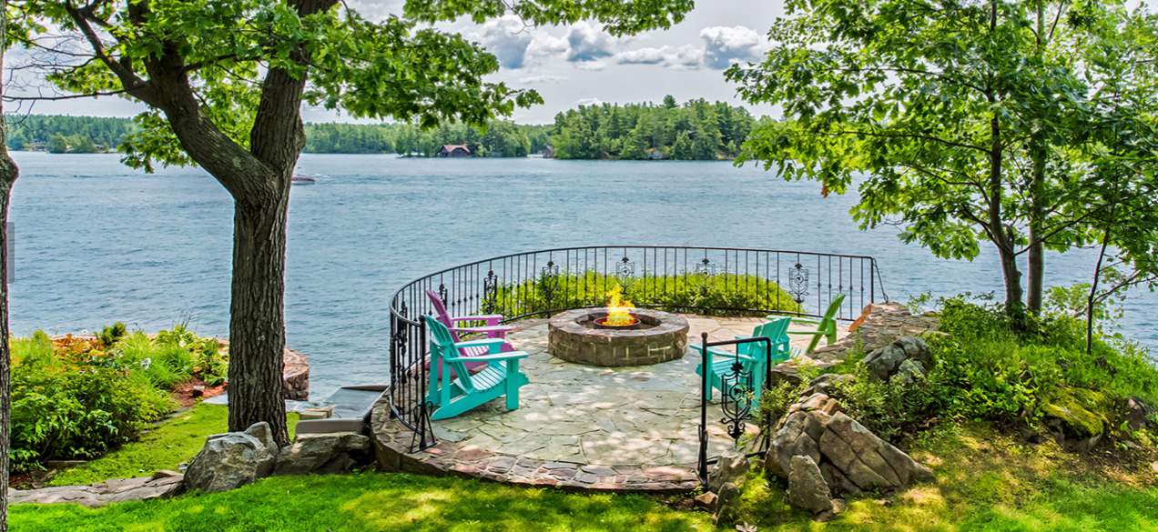 Eagle point is also equipped with a firepit overlooking Bucks Bay