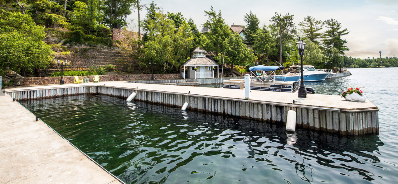 The 300-ft. dock is large enough to accommodate numerous water vehicles