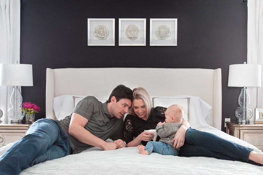price family on bed