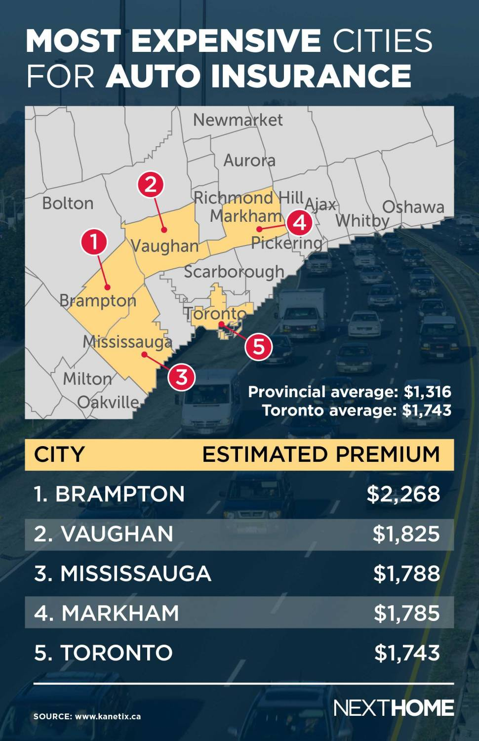 most expensive cities for auto insurance map