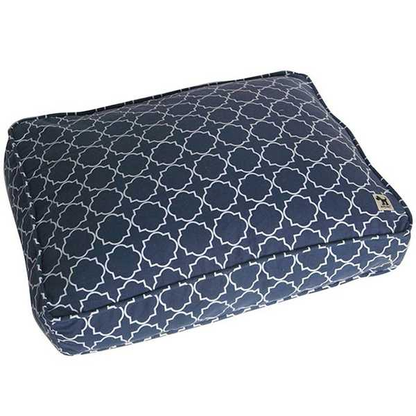 Blue and white scalloped patterned dog bed pillow