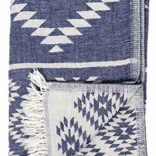 Reversible geometric Turkish towel in denim by pokoloko.com $55. indigo.ca