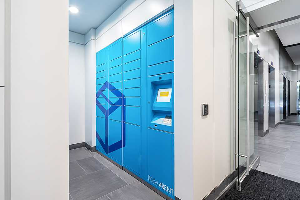 Lockers for parcels and cool storage for groceries located in BOSA Properties' Pendrell building.