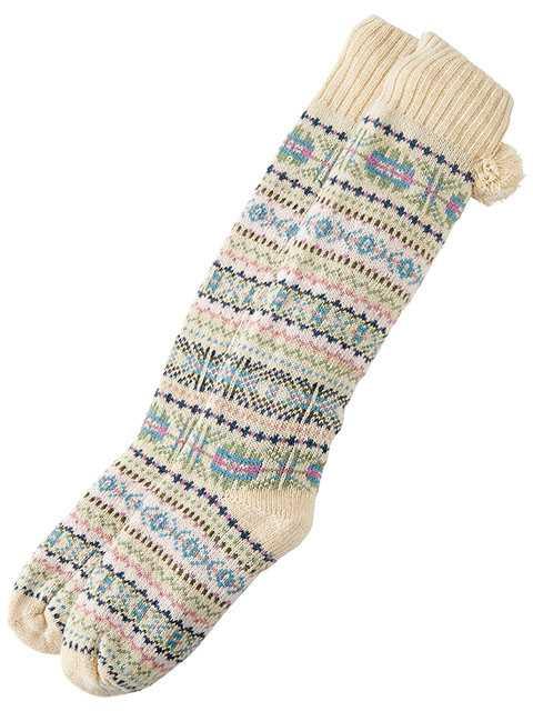 Fair isle reading socks in oatmeal heather. $34. Indigo.ca
