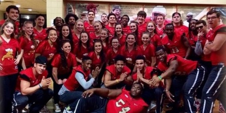 Seton Hill Football & Dance Teams Rock Basketball Game