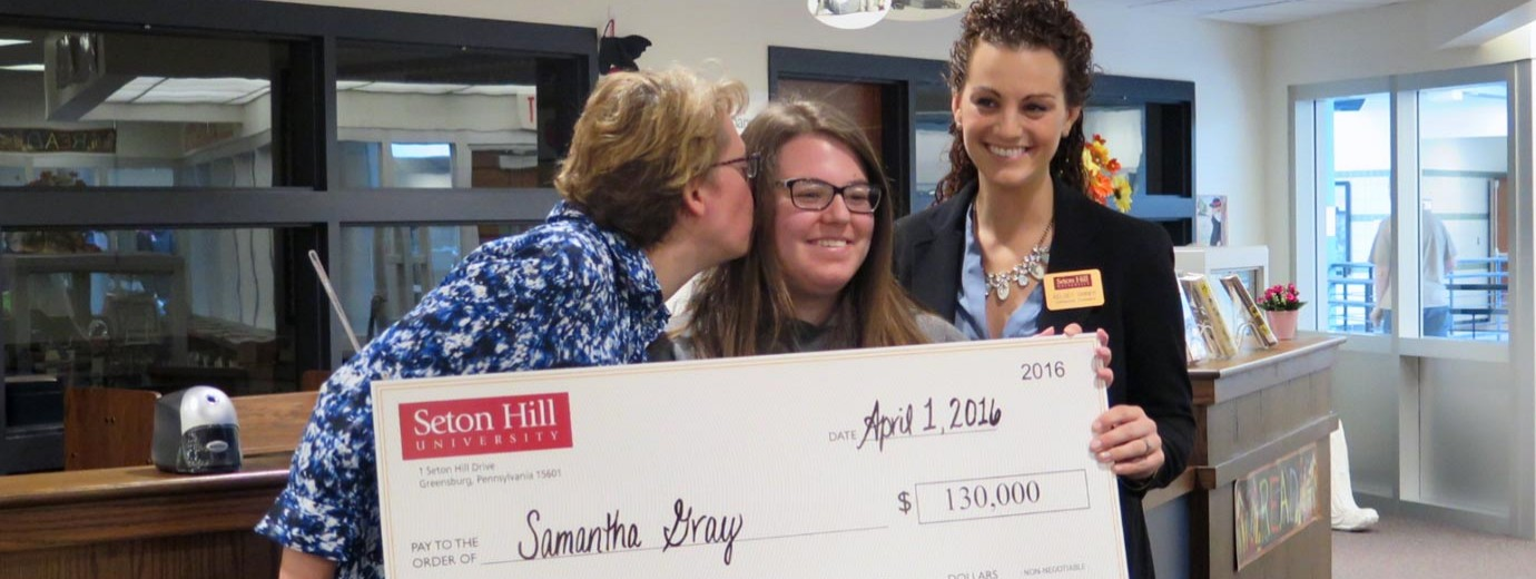 Seton Hill Surprises New Student with Scholarship on April 1