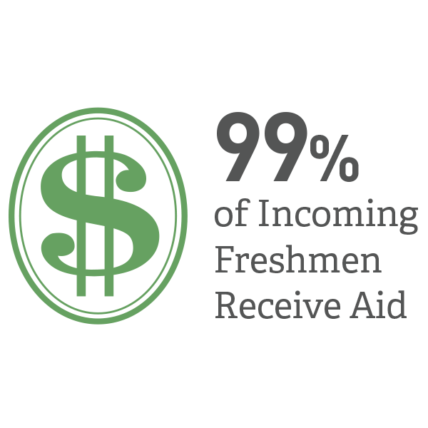 99 percent of incoming freshmen receive aid.