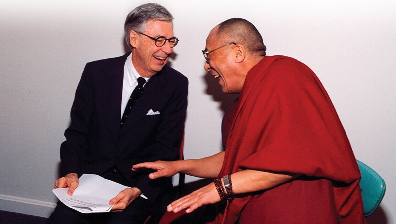 Tenzin Gyatso, His Holiness the 14th Dalai Lama of Tibet, with (Mister) Fred Rogers