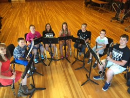 The members of the Clarinet Choir rehearse.