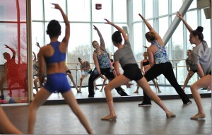 Instructor Katie Hicks leads a Dance Academy class