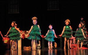 Young dancers perform as Christmas trees in the SHU Dance Academy Holiday Show