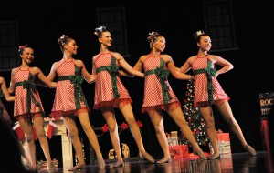 Dancers perform as Rockettes in the SHU Dance Academy Holiday production
