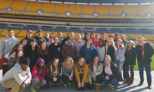 Group photo of students at Heinz Field.