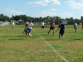 Students playing flag football
