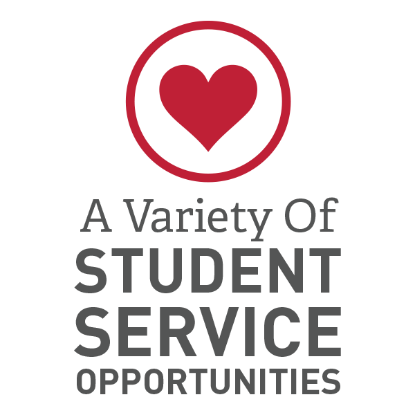 A variety of student service opportunities are available for students at Seton Hill University.